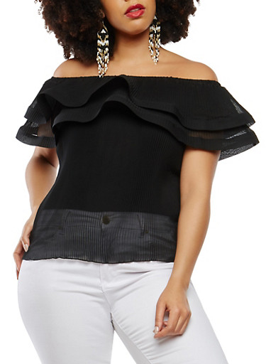 Plus Size Pleated Off the Shoulder Top,BLACK,large