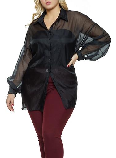 Plus Size Organza Shirt,BLACK,large