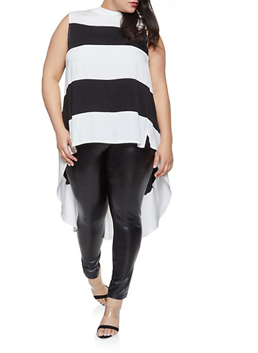Plus Size Striped High Low Top,WHITE,large