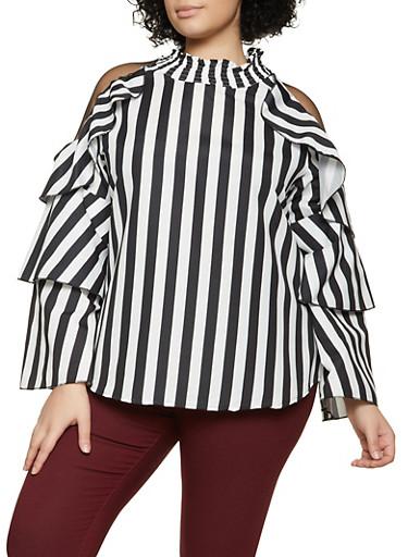 Plus Size Mesh Insert Striped Mock Neck Top,BLACK/WHITE,large