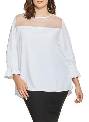 Plus Size Faux Pearl Mesh Yoke Top,WHITE,large