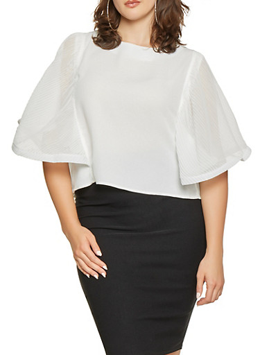 Plus Size Pleated Batwing Sleeve Top,WHITE,large