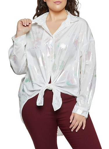 Plus Size Iridescent Detail Tie Front Shirt,WHITE,large