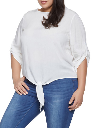 Plus Size Tie Front High Low Top,IVORY,large