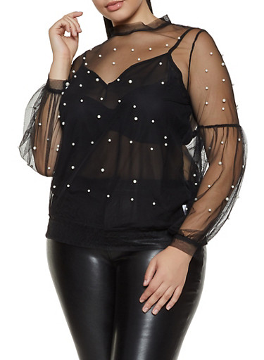 Plus Size Faux Pearl Studded Mesh Top | 1803062122619,BLACK,large