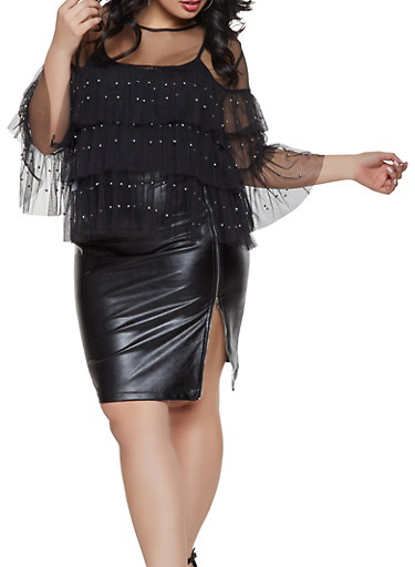 Plus Size Studded Tiered Mesh Top,BLACK,large