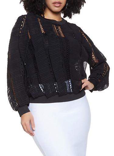 Plus Size Pleated Crochet Top,BLACK,large