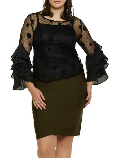 Plus Size Polka Dot Crochet Top,BLACK,large