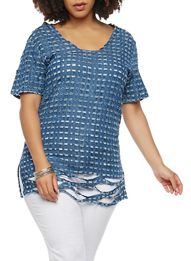Plus Size Destroyed Chambray Top,DENIM,large