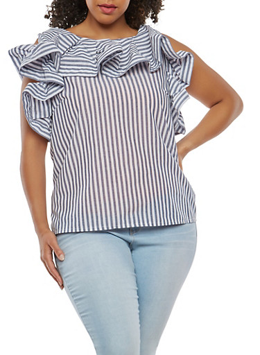Plus Size Striped Button Back Top,WHITE,large
