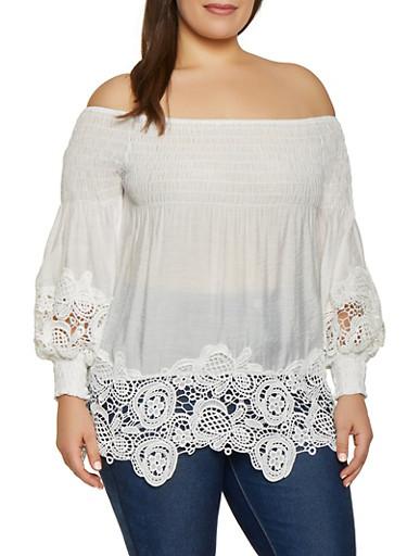 Plus Size Crochet Trim Bubble Sleeve Off the Shoulder Top,WHITE,large