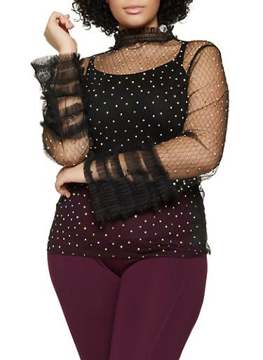 Plus Size Rhinestone Studded Mesh Top,BLACK,large