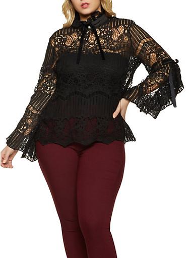 Plus Size Crochet Open Back Top,BLACK,large