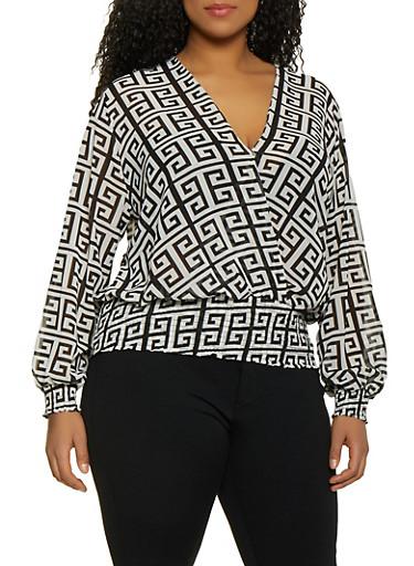 Plus Size Geometric Print Faux Wrap Top,BLACK/WHITE,large
