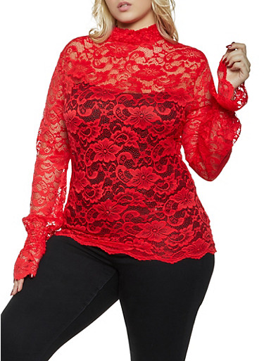 Plus Size Lace Bell Sleeve Top,RED,large