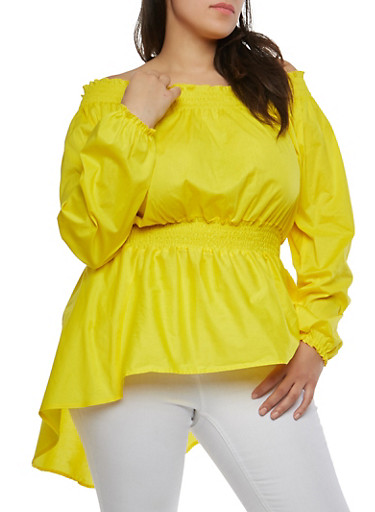 Plus Size Off the Shoulder High Low Top,YELLOW,large