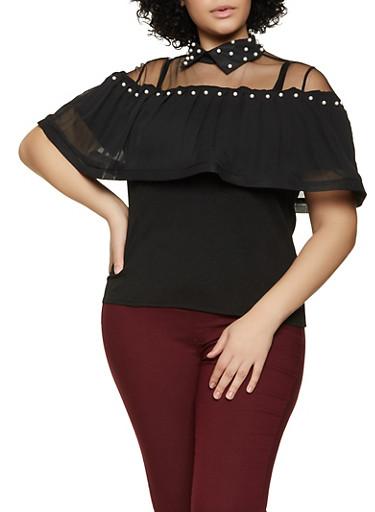 Plus Size Faux Pearl Detail Top,BLACK,large