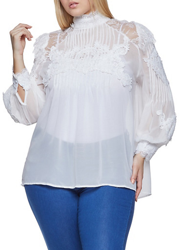 Plus Size Crochet Trim Blouse,WHITE,large