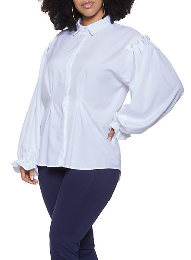 Plus Size Faux Pearl Ruffled Shirt,WHITE,large