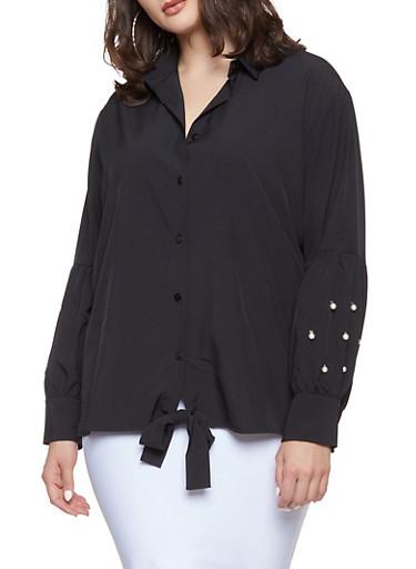 Plus Size Faux Pearl Sleeve Shirt,BLACK,large