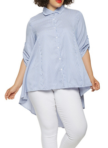 Plus Size Striped High Low Shirt,BLUE,large