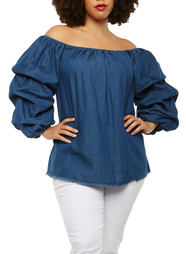 Plus Size Chambray Off the Shoulder Top,DENIM,large