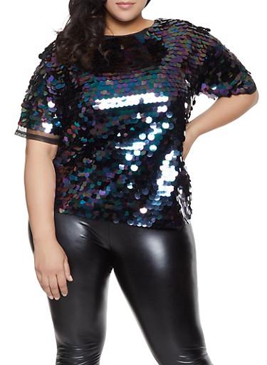 718daff29de Plus Size Sequin Mesh Top - Rainbow