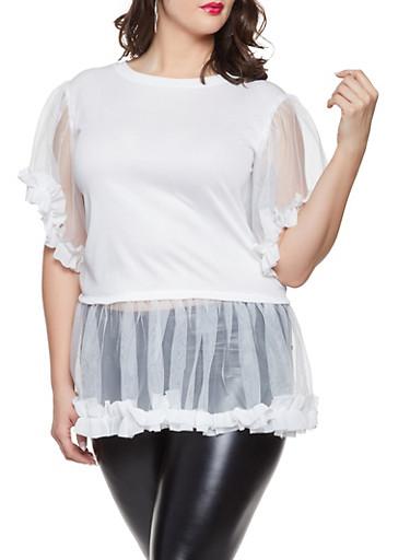 Plus Size Tulle Trim Tunic Top,WHITE,large