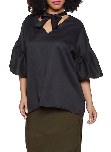 Plus Size Bell Sleeve Tie Neck Top,BLACK,large