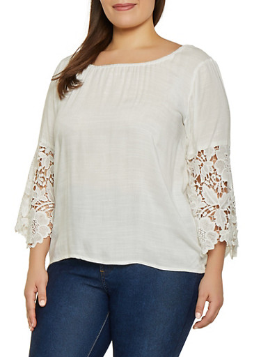 Plus Size Half Crochet Sleeve Peasant Top,WHITE,large