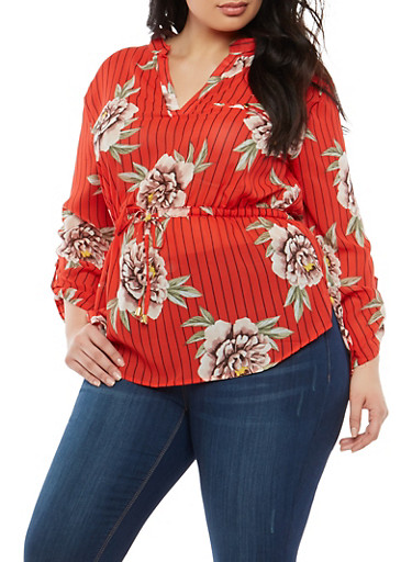 Plus Size Striped Floral Cinched Waist Blouse,RED,large