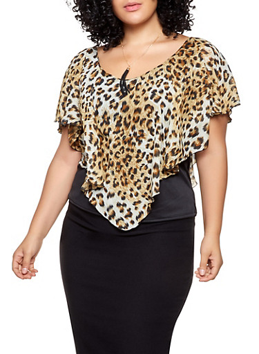 Plus Size Leopard Overlay Top with Necklace,KHAKI,large