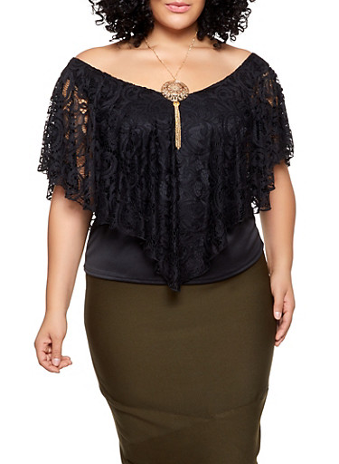 Plus Size Crochet Overlay Top with Necklace,BLACK,large