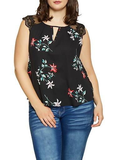 Plus Size Crochet Sleeve Floral Blouse,BLACK,large