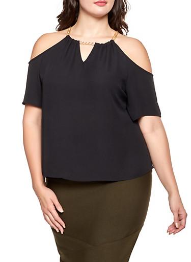 Plus Size Chain Detail Cold Shoulder Top,BLACK,large