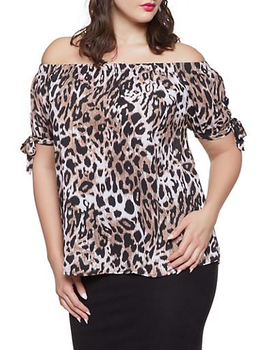 Plus Size Off the Shoulder Leopard Top,BLACK,large