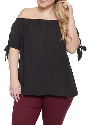 Plus Size Tie Sleeve Off the Shoulder Top,BLACK,large