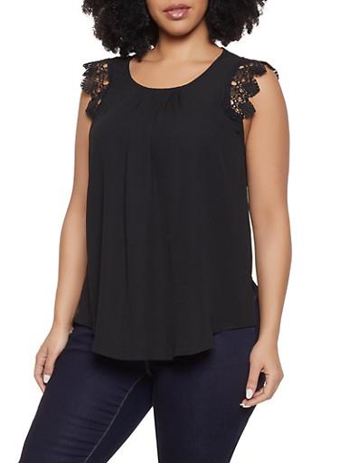 Plus Size Sleeveless Crochet Trim Top,BLACK,large