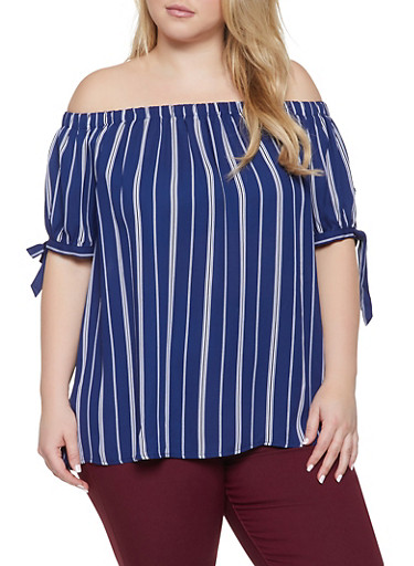 Plus Size Striped Off the Shoulder Top,NAVY,large