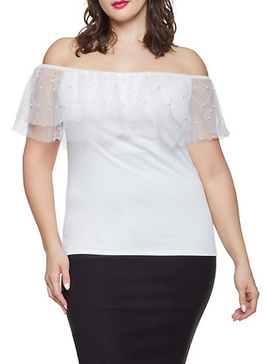 Plus Size Faux Pearl Studded Off the Shoulder Top,IVORY,large