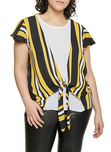 Plus Size Striped Overlay Blouse,BLACK,large