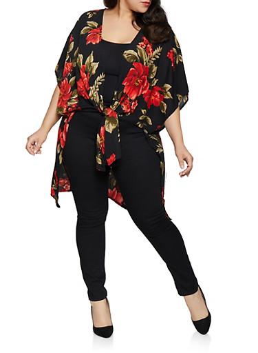 Plus Size Floral Tie Front Kimono,BLACK,large