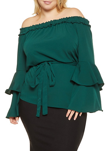 Plus Size Off the Shoulder Tiered Sleeve Top,HUNTER,large