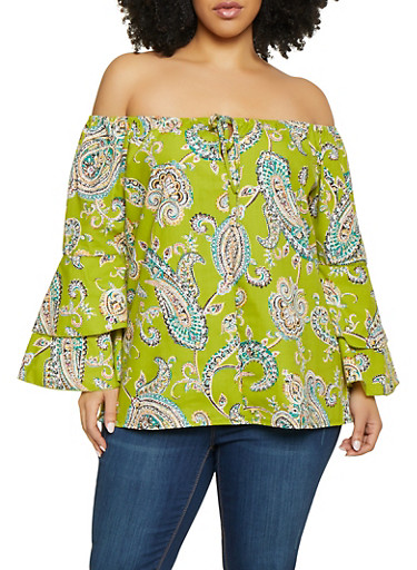 Plus Size Paisley Tiered Sleeve Off the Shoulder Top,LIME,large