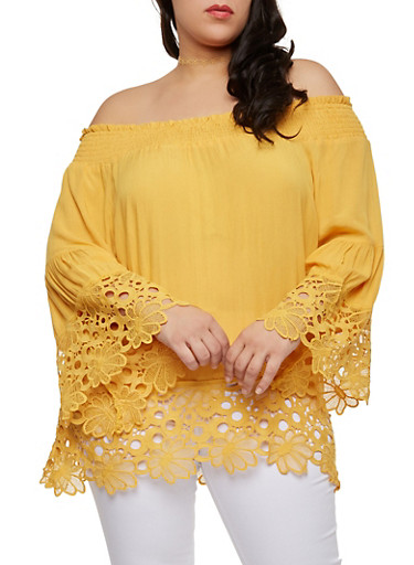 Plus Size Crochet Trim Peasant Top,MUSTARD,large