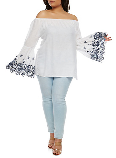 Plus Size Embroidered Sleeve Off the Shoulder Top,WHITE,large