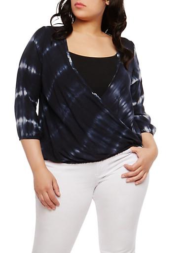 Plus Size Tie Dye Faux Wrap Top,BLACK,large