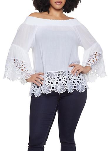 Plus Size Crochet Trim Off the Shoulder Top,IVORY,large