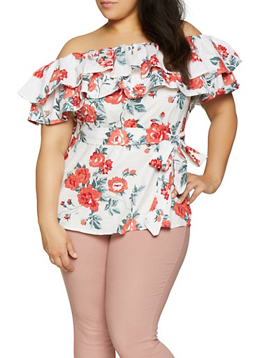 Plus Size Floral Off the Shoulder Top,IVORY,large