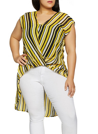Plus Size Twist Front Striped High Low Top,BLACK,large